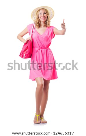 Happy attractive young woman ready for summer vacation - stock photo