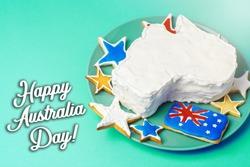 Happy Australia Day message greeting card - vanilla cream cake in a shape of the Australia