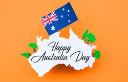 Happy Australia Day message greeting written card , Celebrate Australia-Day holiday on January 26