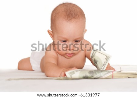 happy baby and money on a white background