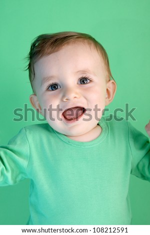 happy baby boy, studio photo session