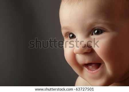 happy baby face close up