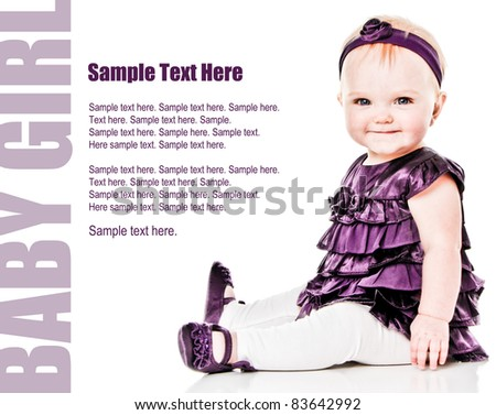 Happy Baby Girl smiling in purple dress with Text Space to the left