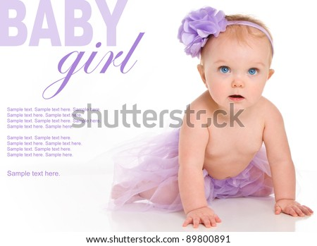Happy Baby Girl with Text Space to the left