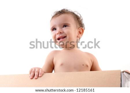 Happy Baby inside of a cardboard box .