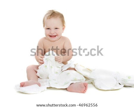 happy baby with diapers over white