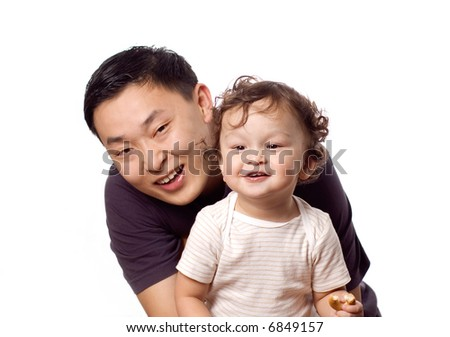 Happy baby with father,isolated on a white background.