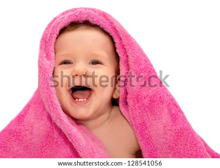 Happy baby with red towel