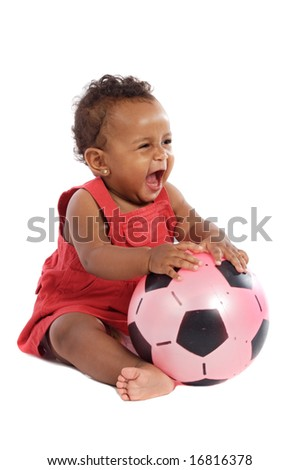 Happy baby with soccer ball a over white background