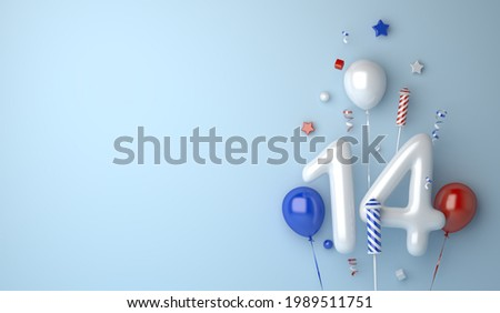 Happy Bastille Day decoration background with balloon 14 confetti copy space text, 3D rendering illustration Сток-фото ©