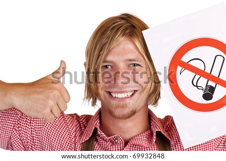 Happy Bavarian man agrees to no-smoking-rule . Isolated on white background.