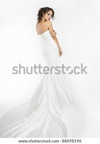 Happy beautiful bride white background up cloth, white