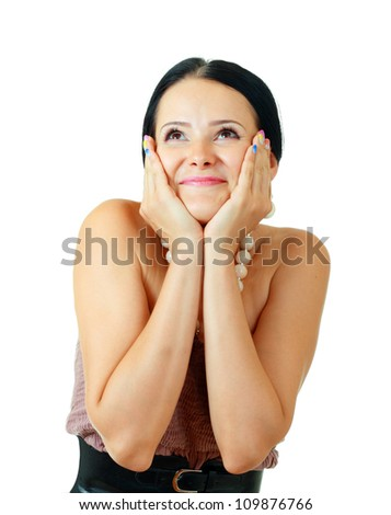 happy beautiful brunette woman excited hold her face in hands over white background
