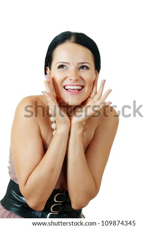happy beautiful brunette woman excited over white background