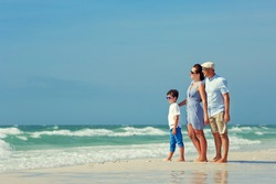 Happy beautiful family on Florida summer holiday vacation