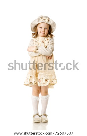 happy beautiful girl standing on floor isolated on white