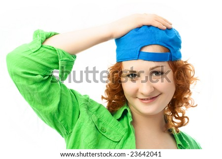-happy-young-woman-with-curly-ginger-hair-eating-a-colorful-candy.html