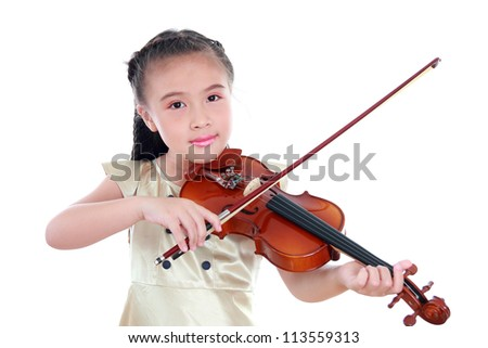 Happy beautiful girl with violin isolated on white background