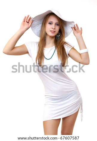 Happy beautiful sexy young woman in white dress, isolated on white