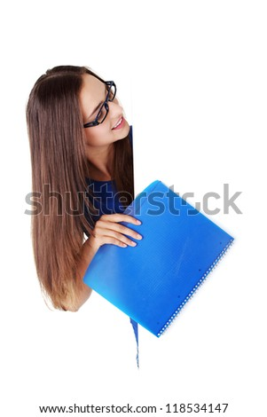 Happy beautiful student woman with blank board. Student or businesswoman.