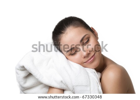 Happy beautiful woman after bath drying with white towel, isolated on white
