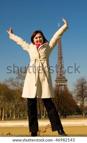 Happy beautiful woman having fun in Paris