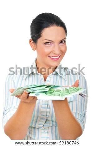Happy beautiful woman offering you a lot of euro money in her palms and smiling  isolated on white background