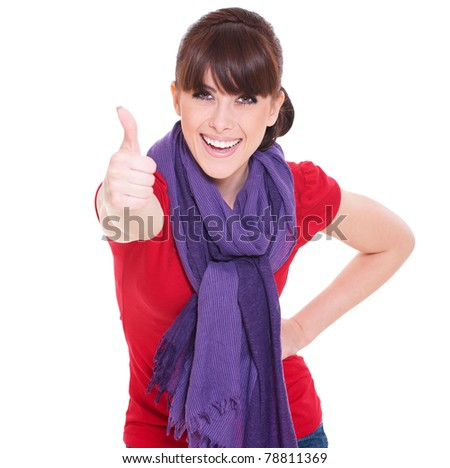 happy beautiful woman showing thumbs up over white background