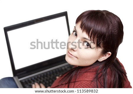 Happy beautiful young woman using laptop on White Background