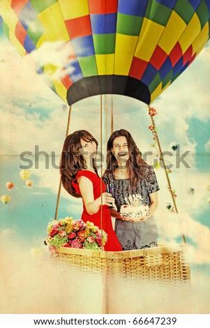 happy beauty girls on air balloon