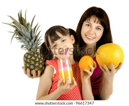 happy beauty mother and daughter, hold  pineapple, juice and orange, drink and smile, on white background, isolated