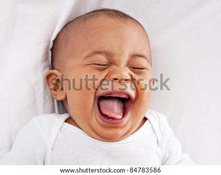 Stock Photo happy big laughing 7-month old African American baby boy