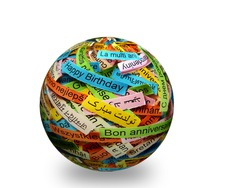 Happy Birtday  Word Cloud printed on colorful paper different languages on 3d ball