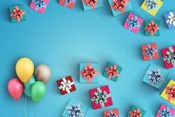 Happy birthday and gift box on black background