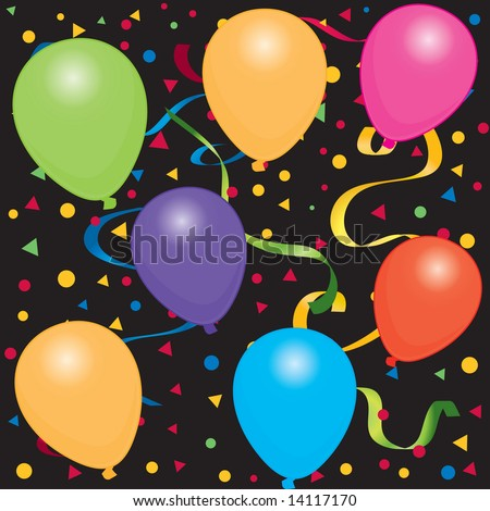 birthday balloons cartoon. stock photo : Happy Birthday