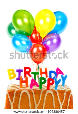 happy birthday. birthday cake with candles and colorful balloons. card concept