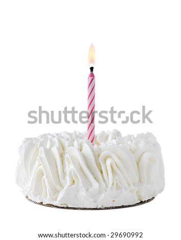 Happy Birthday Cake whit one pink candle isolated on white background