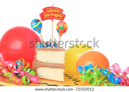 Happy birthday cake with candles. Also available in vertical.