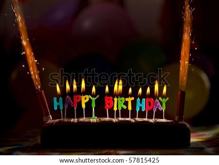 happy birthday cake candles. stock photo : Happy birthday