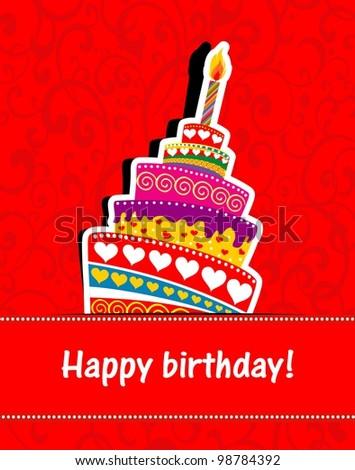 Happy Birthday Card. Birthday Cake. Illustration - 9878