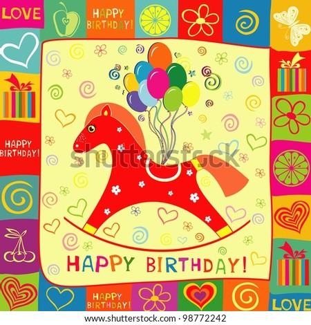 Happy birthday card. Celebration background. illustration