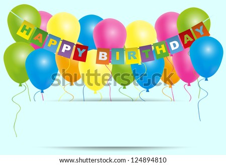 Happy Birthday Card- Color Balloons With With Happy Birthday Sign Isolated on Light Blue Background