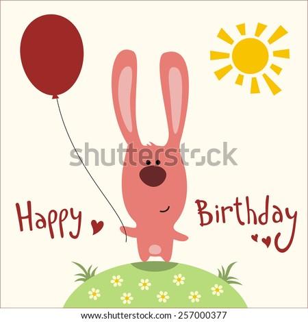 Happy Birthday Card Funny Rabbit With Balloon Handwritten Text
