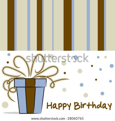 Happy Birthday card layout with dots and stripe pattern