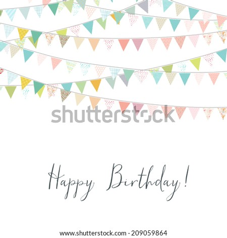 Happy Birthday Card With Colorful Bunting Flags. Cute Birthday Background