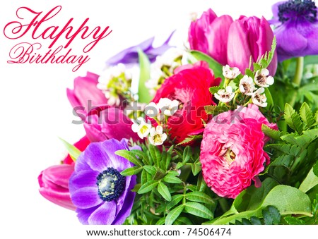 Happy Birthday. Card with colorful flowers.
