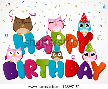 Happy Birthday Card With Owl Ez Canvas