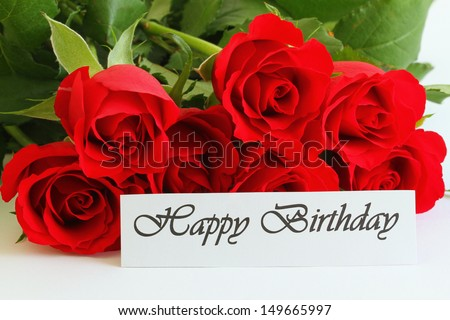 Happy Birthday Roses Card Happy Birthday Card With Red
