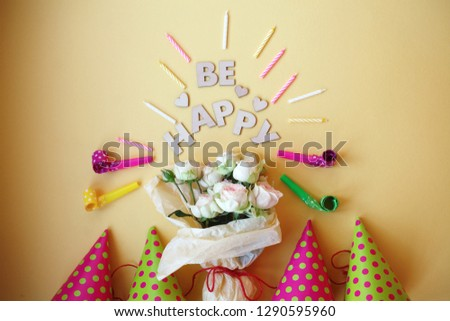 Happy Birthday Card With Roses Heartscandles Top View 1290595960