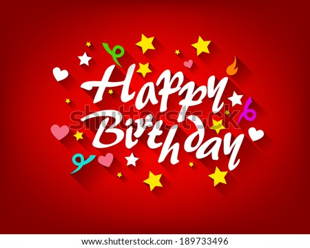 Happy Birthday Card With Star, Heart and Ribbon